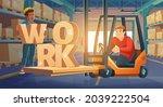 work in warehouse  forklift... | Shutterstock .eps vector #2039222504