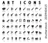 vector black art icons set on... | Shutterstock .eps vector #203940415