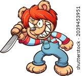 evil teddy bear holding a knife ... | Shutterstock .eps vector #2039453951