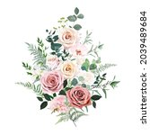 dusty pink and cream rose ... | Shutterstock .eps vector #2039489684