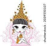 lali thai crown girl pink | Shutterstock .eps vector #2039550107