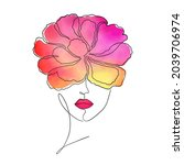 female face with  watercolor... | Shutterstock .eps vector #2039706974