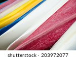 Colorful Abstract Rows Of Canoes
