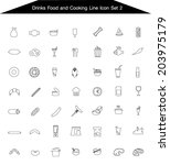 food and drink icon line set 2