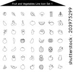 fruits and vegetables icon line ... | Shutterstock .eps vector #203975299