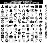 100 icons business  human... | Shutterstock . vector #203979025