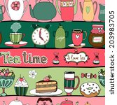 tea time seamless background... | Shutterstock . vector #203983705
