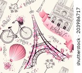 Paris Symbols Seamless Pattern...