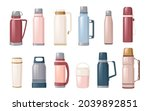 set of thermos and thermo mug... | Shutterstock .eps vector #2039892851