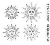 set of celestial suns with face ... | Shutterstock .eps vector #2039897681