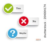 yes  no and maybe round icons... | Shutterstock .eps vector #204004174