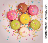 colorful macaroons against...   Shutterstock . vector #204007654