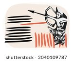 ancient idol. graphic image of... | Shutterstock .eps vector #2040109787
