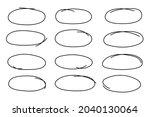 sketch oval frames. doodle... | Shutterstock .eps vector #2040130064