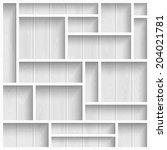 empty white shelves on the... | Shutterstock .eps vector #204021781