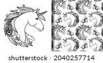unicorn head print and seamless ... | Shutterstock .eps vector #2040257714