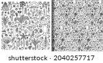 doodle hand drawn plants set... | Shutterstock .eps vector #2040257717