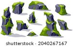 set moss on old gray stones....