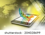smart phone showing a growth... | Shutterstock . vector #204028699