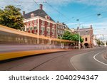 Gevangenpoort in The Hague and the tram passing by (slow shutterspeed)