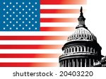 Stock vector usa capitol dome with flag 20403220