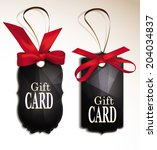 set of elegant black gift cards ... | Shutterstock .eps vector #204034837