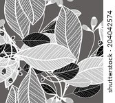 black and white floral pattern...   Shutterstock .eps vector #204042574