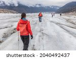 Alaska Glacier Hiker Woman On...
