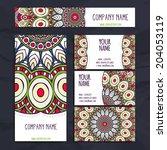 set retro business card. vector ... | Shutterstock .eps vector #204053119