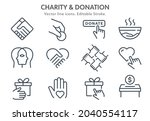 charity icon set. collection of ... | Shutterstock .eps vector #2040554117