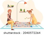 happy family playing at home...   Shutterstock .eps vector #2040572264