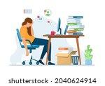 professional burnout.stress at... | Shutterstock .eps vector #2040624914