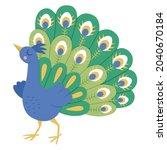 fairy tale vector peacock....   Shutterstock .eps vector #2040670184