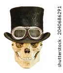 Steampunk Smiling Skull With...