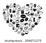 heart of coffee icon set with... | Shutterstock .eps vector #204071275