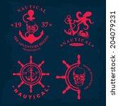 t shirt print. nautical marine  ... | Shutterstock .eps vector #204079231
