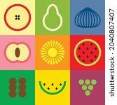 flat minimalist geometric fruit ...   Shutterstock .eps vector #2040807407