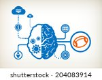 rugby and abstract human brain  ... | Shutterstock .eps vector #204083914