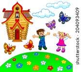 illustration of cartoon lawn ... | Shutterstock . vector #204093409