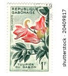 Gobon stamp with flower - stock photo