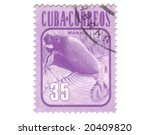 Old postage stamp from Cuba with Manatus - stock photo