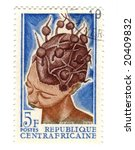 central african stamp with woman - stock photo