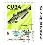 Old postage stamp from Cuba with Cod - stock photo