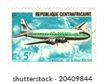 central african stamp with airplane - stock photo
