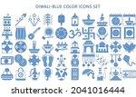 diwali blue color icons set....