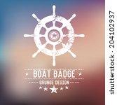 Boat Badge Grunge Symbol On...