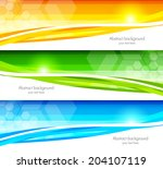 set of banners with hexagons | Shutterstock .eps vector #204107119