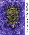 grunge watercolor illustration...   Shutterstock . vector #2041100561