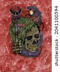 grunge watercolor illustration...   Shutterstock . vector #2041100594