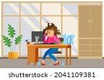 missing deadline  bad time... | Shutterstock .eps vector #2041109381